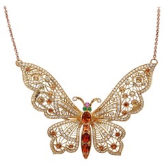 Impressive Midcentury 5.20 Ct Madeira Citrine 5.20 Ct Diamond Butterfly Pendant