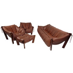 Impressive Midcentury Brazilian Percival Lafer Living Room Set in Leather
