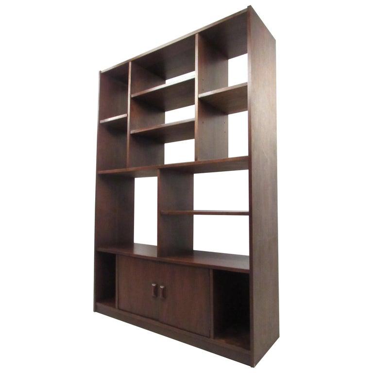 Impressive Midcentury Walnut Bookcase or Room Divider For Sale