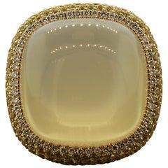Impressive Moonstone Diamond Yellow Sapphire Gold Cocktail Ring