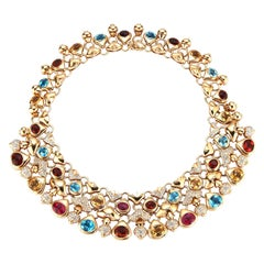 Impressive Multi Gem and Diamond Gold Necklace by Moussaieff