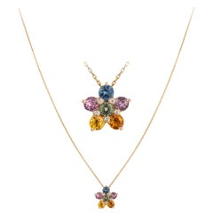 Impressive Multi Sapphire Diamond 18 Karat Rose Gold Necklace for Her