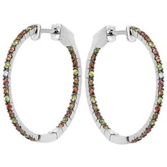 Impressive Multi Sapphire Diamond White Gold Hoop Earrings