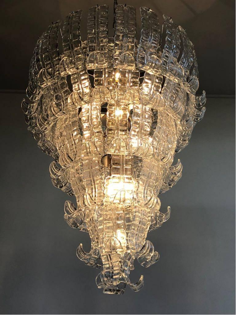 Mid-Century Modern Impressive Murano Glass Chandelier by Barovier & Toso, Italy, 1970s For Sale