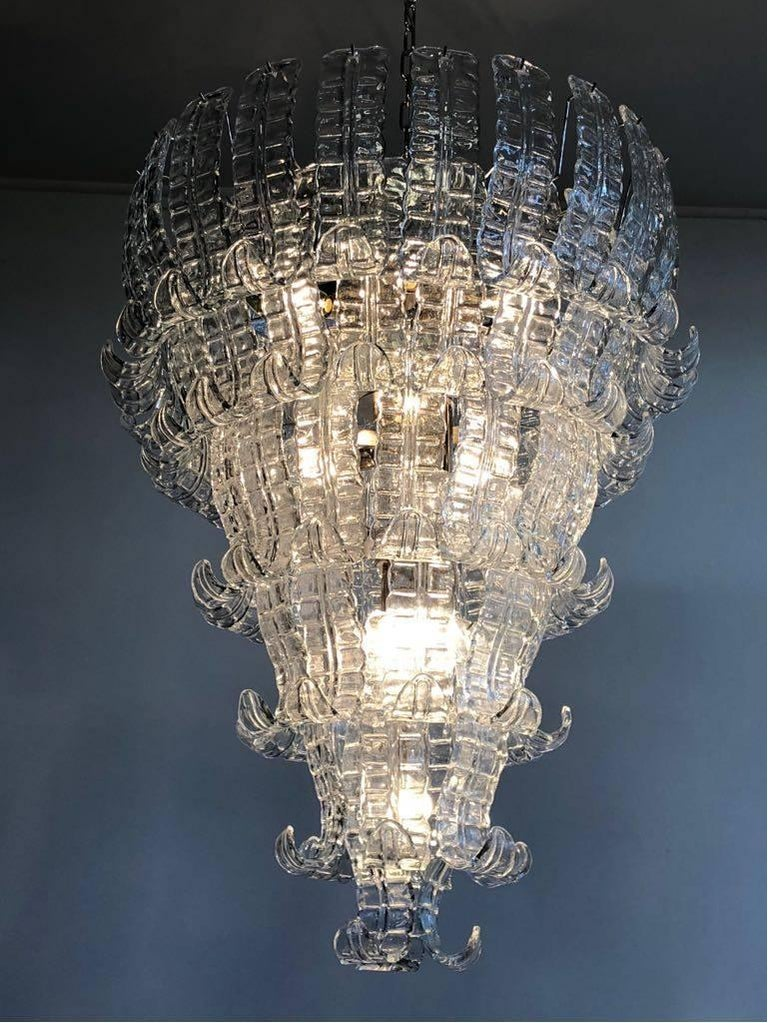 Impressive Murano Glass Chandelier by Barovier & Toso, Italy, 1970s In Excellent Condition For Sale In Rome, IT