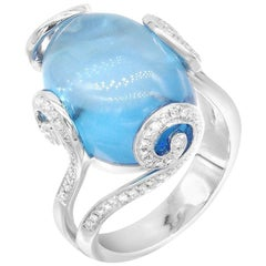 Impressive Nacre Topaz Diamond White Gold Ring