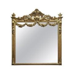 Impressive Napoleon III Large Gilt Wall Mirror, France, 19th Century
