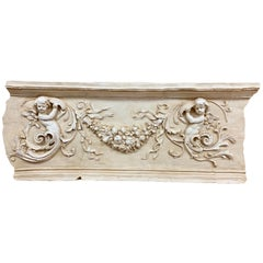 Impressive Neoclassical Carved Putti Architectural Relief Plaque