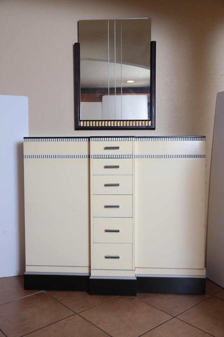 Art Deco Machine Age Skyscraper Kittinger Console Chest, Matching Mirror, Mont For Sale 10