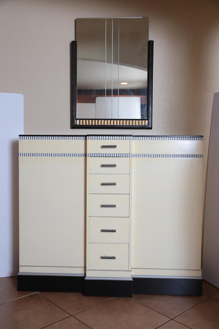 American Art Deco Machine Age Skyscraper Kittinger Console Chest, Matching Mirror, Mont For Sale