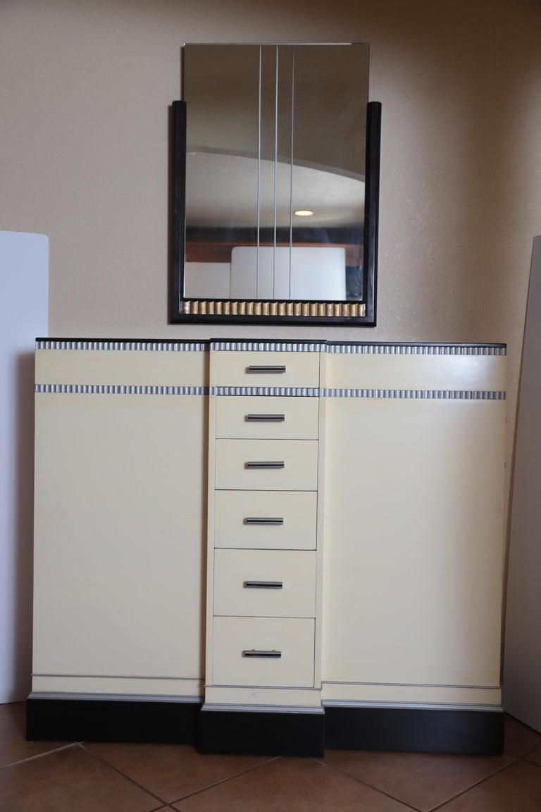 Art Deco Machine Age Skyscraper Kittinger Console Chest, Matching Mirror, Mont For Sale 2