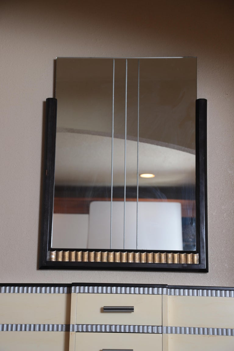 Mid-20th Century Art Deco Machine Age Skyscraper Kittinger Console Chest, Matching Mirror, Mont For Sale