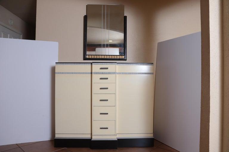 Art Deco Machine Age Skyscraper Kittinger Console Chest, Matching Mirror, Mont For Sale 11