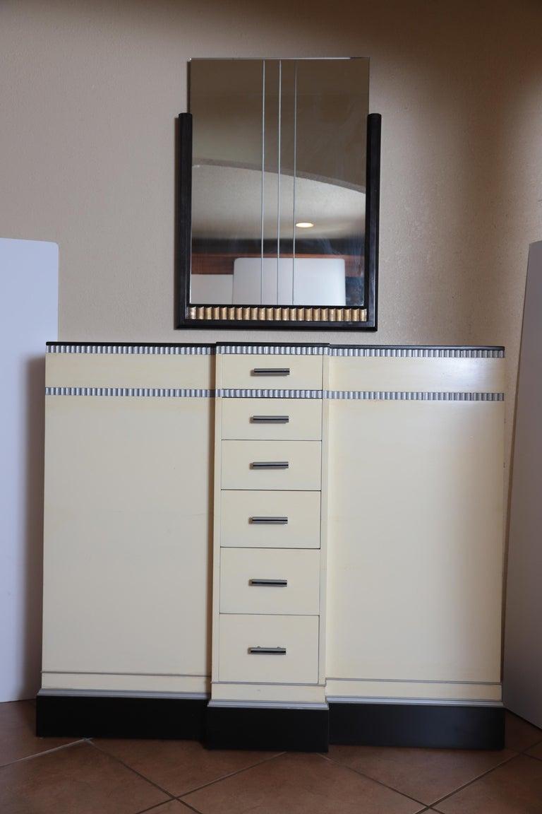 Art Deco Machine Age Skyscraper Kittinger Console Chest, Matching Mirror, Mont For Sale 12