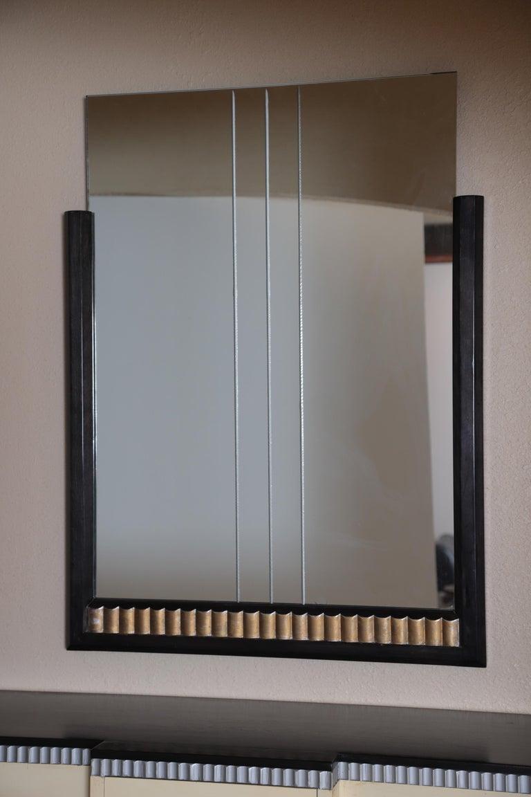Art Deco Machine Age Skyscraper Kittinger Console Chest, Matching Mirror, Mont For Sale 13