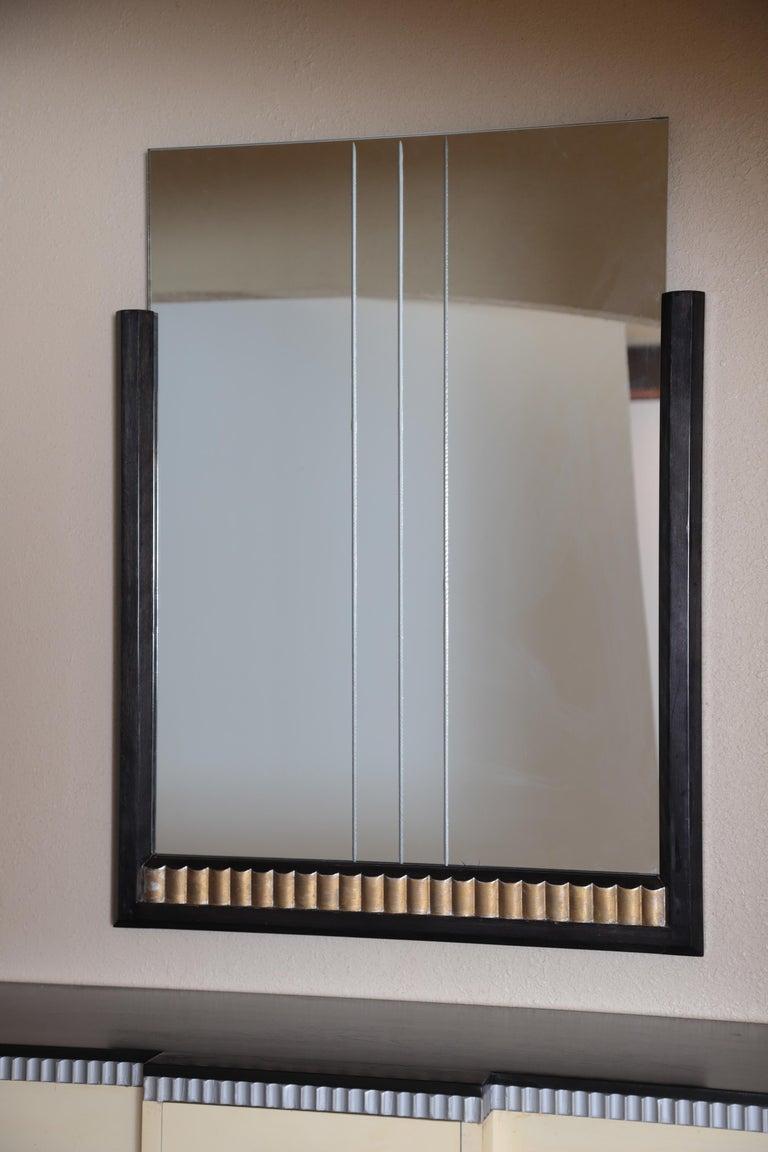 Art Deco Machine Age Skyscraper Kittinger Console Chest, Matching Mirror, Mont For Sale 1