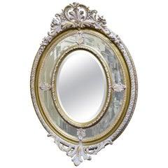 Impressive Oval Carved Gilt Limed Oak Mirror
