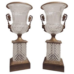 Impressive Pair French Cut Crystal and Doré Bronze Figural Ormolu-Mounted Urns