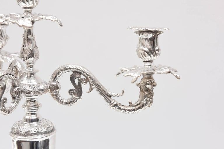 Impressive Pair of 4-Light Candelabra Sheffield Silver Plate Elephant Motif  For Sale 3