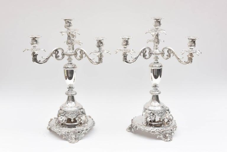 Baroque Revival Impressive Pair of 4-Light Candelabra Sheffield Silver Plate Elephant Motif  For Sale