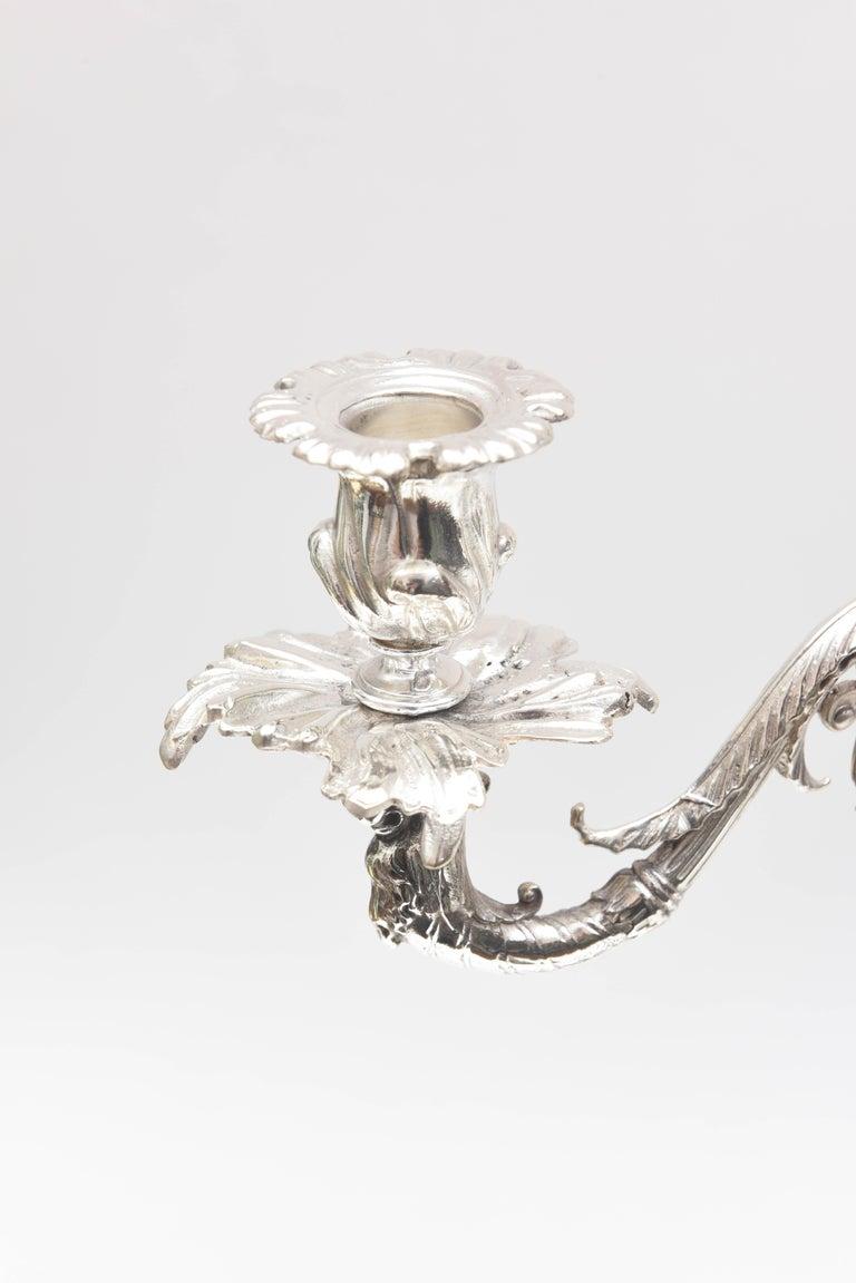 English Impressive Pair of 4-Light Candelabra Sheffield Silver Plate Elephant Motif  For Sale