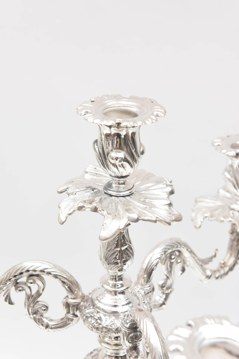 Impressive Pair of 4-Light Candelabra Sheffield Silver Plate Elephant Motif  In Good Condition For Sale In West Palm Beach, FL