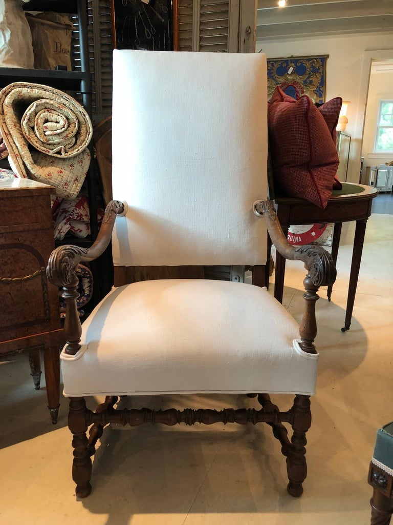 Impressive Pair of Beautifully Carved Regal French Armchairs For Sale 2