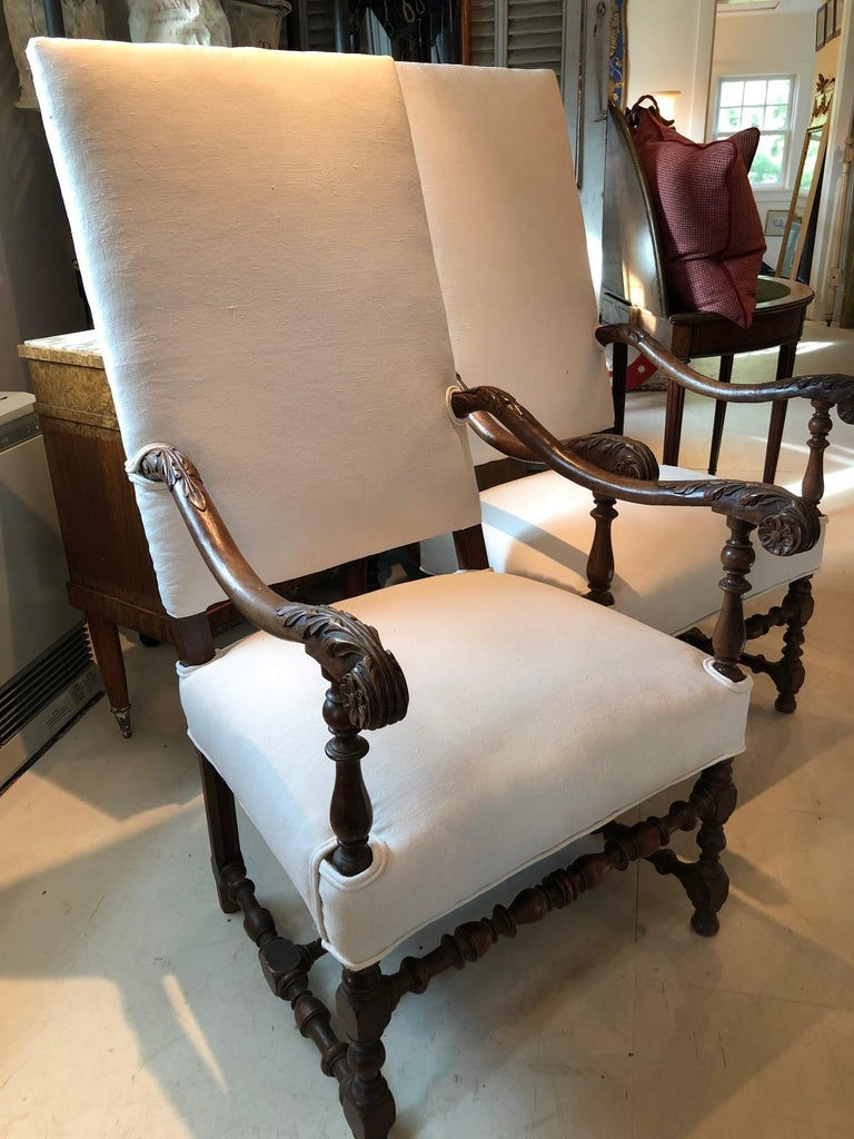 Impressive Pair of Beautifully Carved Regal French Armchairs For Sale 3