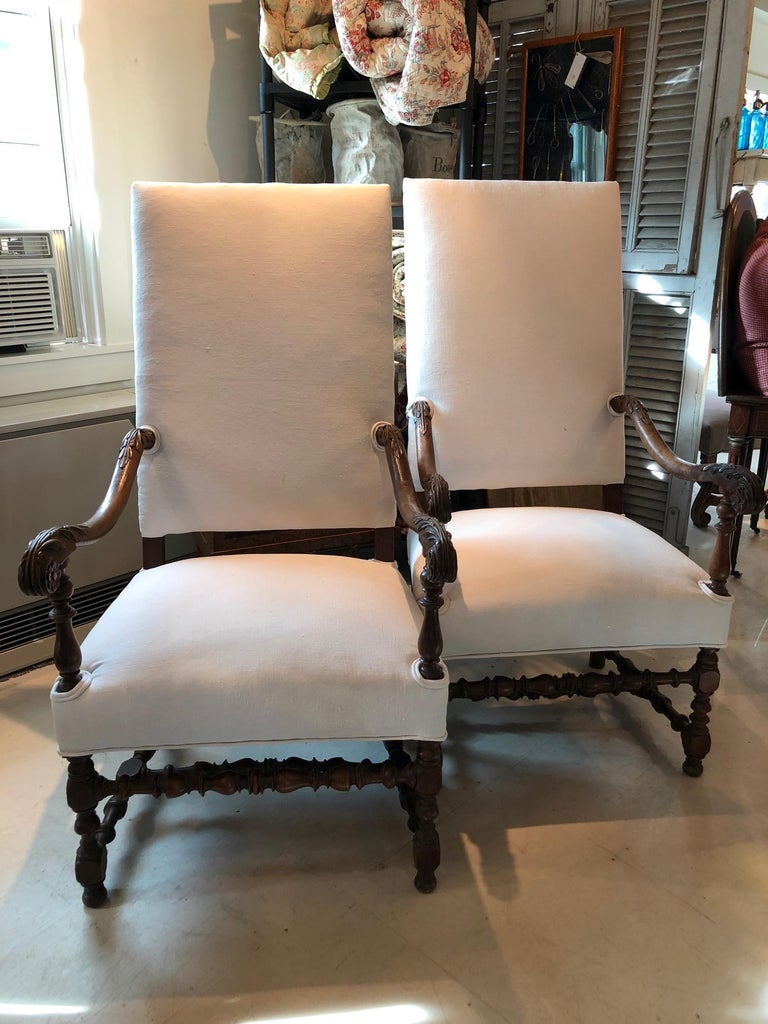 Impressive Pair of Beautifully Carved Regal French Armchairs For Sale 4