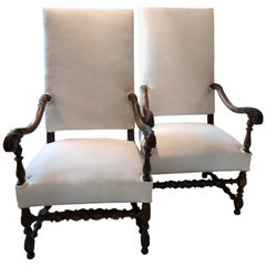Impressive Pair of Beautifully Carved Regal French Armchairs