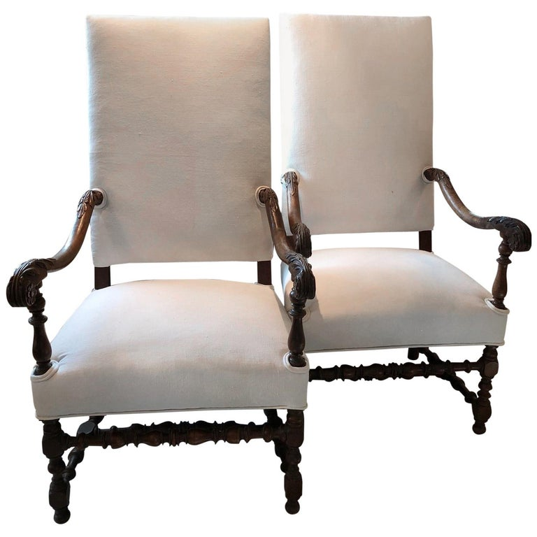 Impressive Pair of Beautifully Carved Regal French Armchairs For Sale