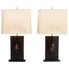 Beeindruckende Paar Schwarz Lackierte Tisch Lampen von Jean Claude Dresse