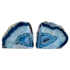 Impressive Pair of Blue Geode Bookends