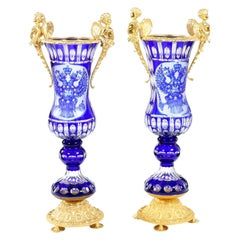 Impressive Pair Bronze Mounted / Cut Crystal Vases