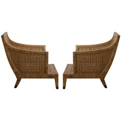 Impressive Pair of Caned Lounge Chairs by McGuire