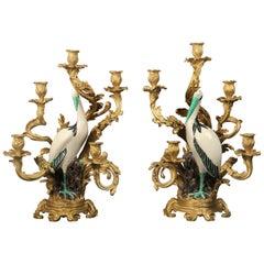 Impressive Pair of Continental Gilt Bronze-Mounted Porcelain Candelabra