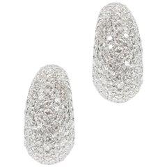 Impressive pair of diamond set half hoop earrings