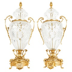 Impressive Pair of Footed Gilt Bronze-Mounted / Cut Crystal Urns