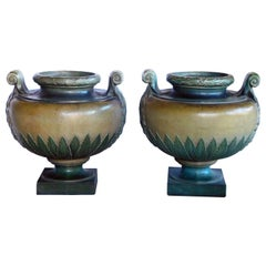Impressive Pair of French Glazed Earthenware Urns, Signed 'Emile Muller, Paris'
