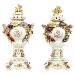 Impressive Pair of German Porcelain Covered Urn