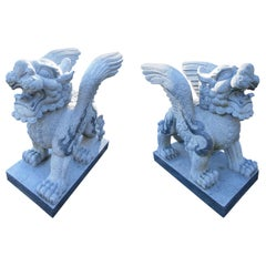 Impressive Pair of Griffin Statues in Granite