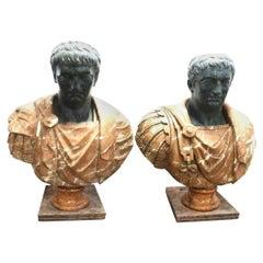 Impressive Pair of Late 19th Century Marble Caesar's in Italian Marble