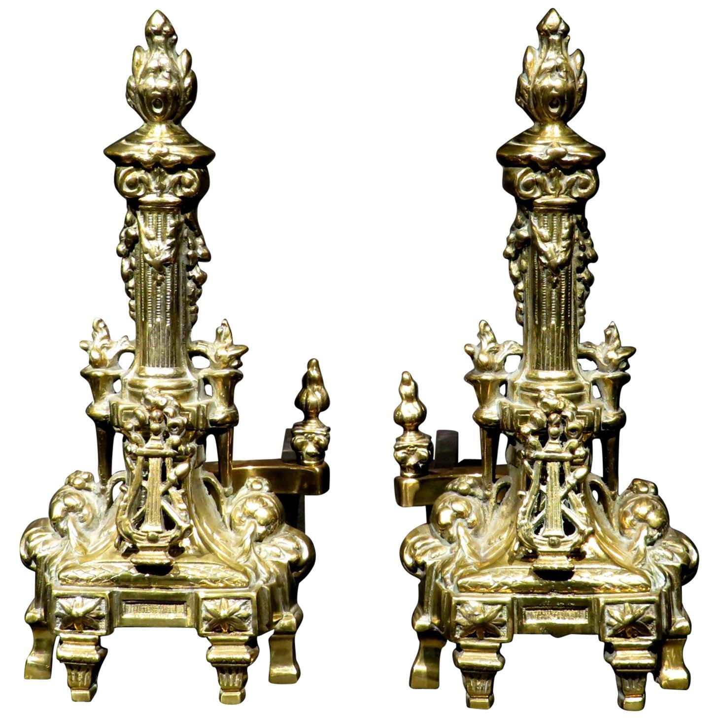 Impressive Pair of Louis XVI Style Gilt Bronze Chenets, France Circa 1900