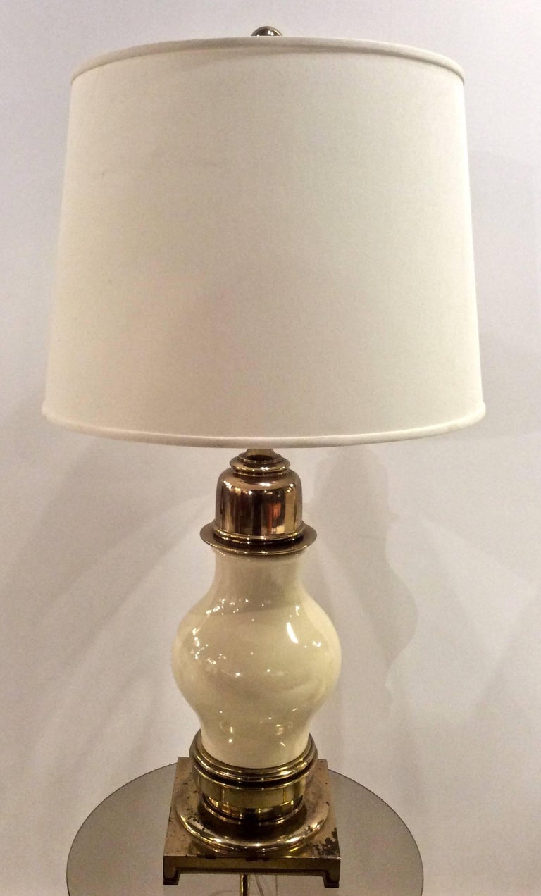 Mid-20th Century Impressive Pair of Midcentury Ceramic and Brass Table Lamps, by Stiffel For Sale