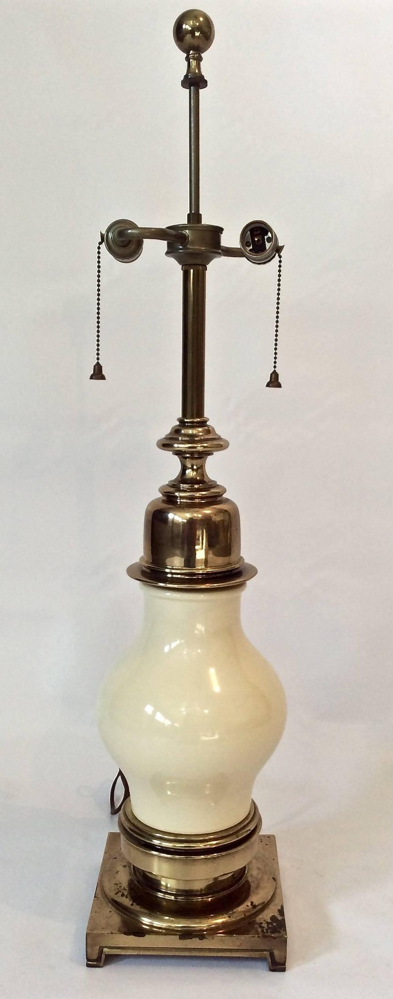 Impressive Pair of Midcentury Ceramic and Brass Table Lamps, by Stiffel For Sale 1
