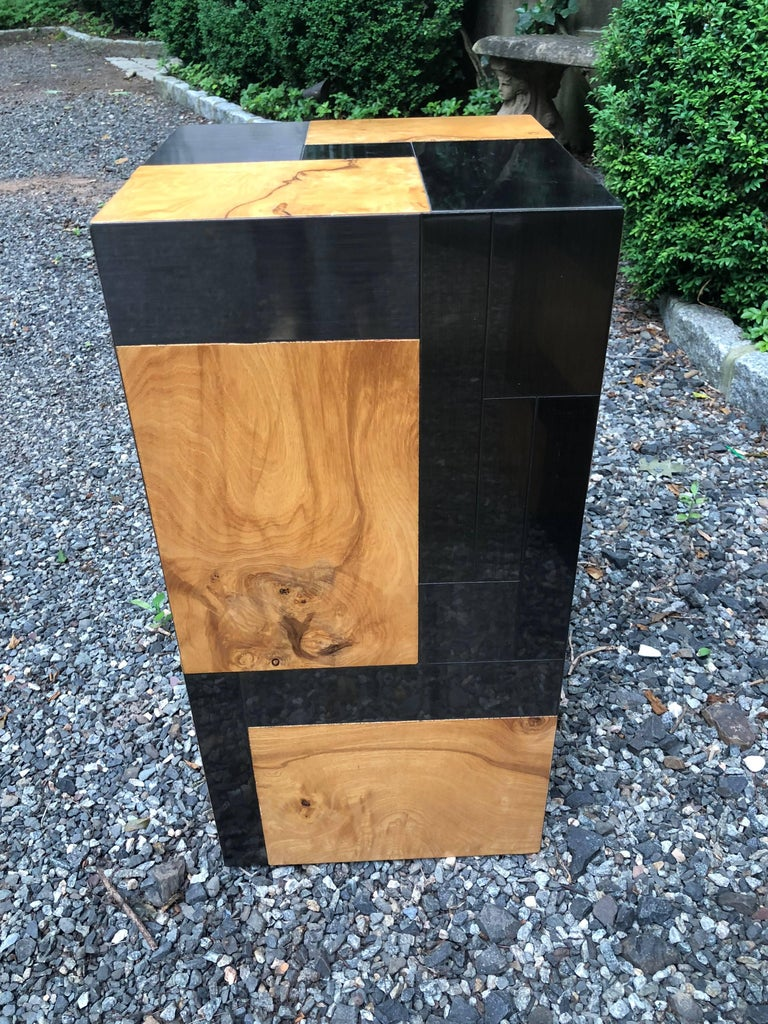 Spectacular pair of Paul Evans cityscape square display pedestals. Made of burl wood and brushed chrome tile panels, pedestals are like pieces of art themselves. Signed.