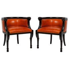 Impressive Pair of Neoclassical Style Lacquered Ram's Head Armchairs