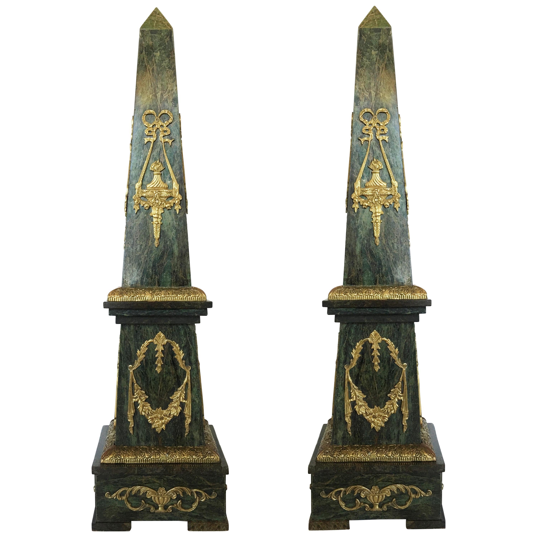 Impressive Pair of Ormolu Mounted Marble Obelisks