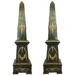 Impressive Pair of Ormolu Mounted Marble Obelisks