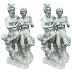 "Impressive Pair of ""Pan and Olymp"" Bronze Statues"